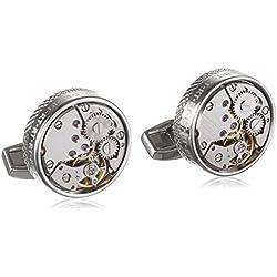 Gemelos de metal bañado en plata - maquinaria de reloj