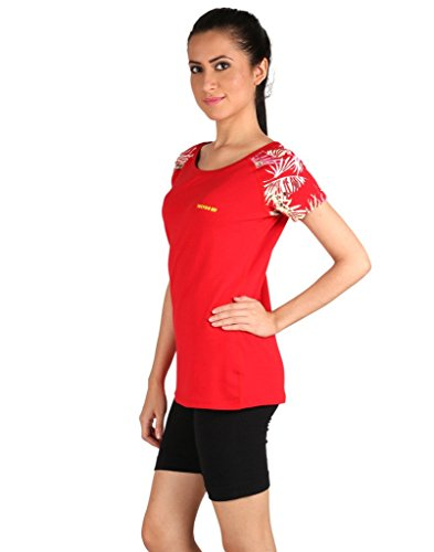 Vector X VTDF- 007 Printed sleeves Round Neck Women's T-Shirt, Extra Large (Red)