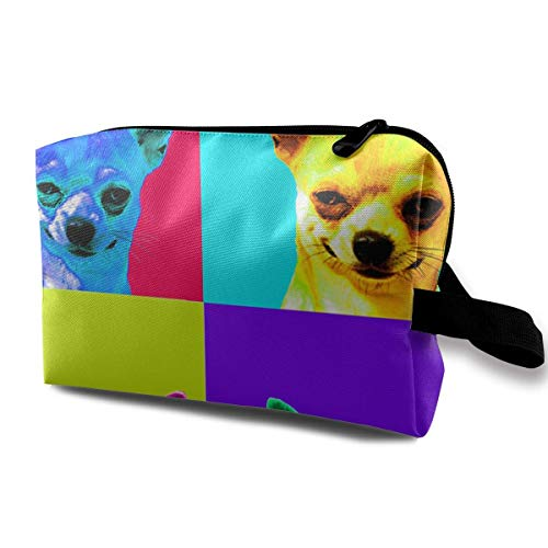 Chihuahua Pop Art Multifunction Travel Makeup Bags Pencil Case Handbag Organizers With Zipper