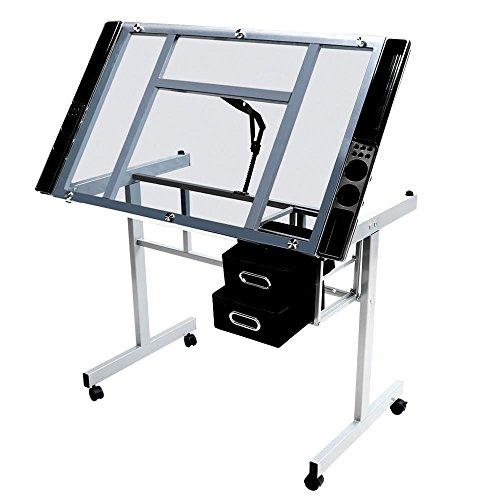 Yaheetech Zeichentisch Schreibtisch Architektentisch, Neigungsverstellbar mit 2 Schubladen