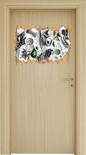 Grüne Sprossen Obst (schöne Gemüse und Obst Vielfalt schwarz/weiß Holzdurchbruch im 3D-Look , Wand- oder Türaufkleber Format: 62x42cm, Wandsticker, Wandtattoo, Wanddekoration)