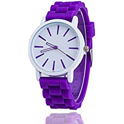 11 colours Ladies brand GENEVA Watch Classic Gel Silicone Jelly watch (Purple + White Face)