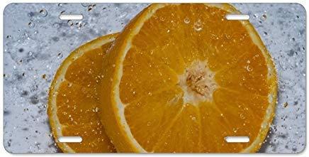 Dant454ty Kennzeichenhalter für Nummernschild, Motiv Obstwasser, 15,2 x 30,5 cm, Orange