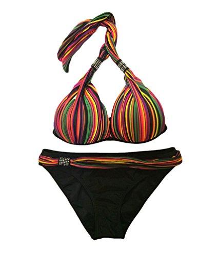 Baymate Mujer Talla Grande Rayas De Colores Bikini Traje De Baño Bañador Colores 4XL