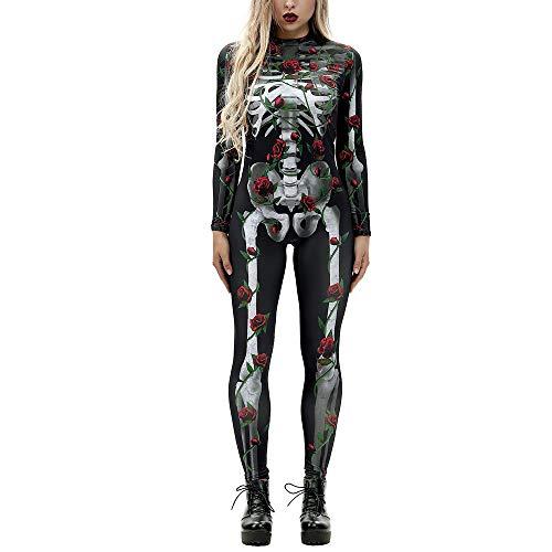 Halloween Kostüm Damen, Langarm Rot Rose Knochen Skelett Overall Knochen Skeleton Bodysuit Anzug Fasching Karneval, Rot, S-XL