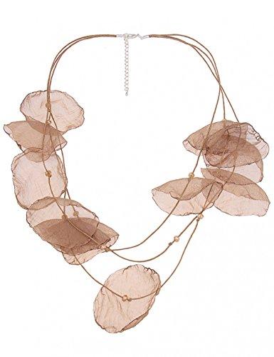 Leslii Damen-Kette Blüten Stoff-Kette Textil-Kette Blumen-Kette Blätter Glasperlen braune Modeschmuck-Kette Braun Beige