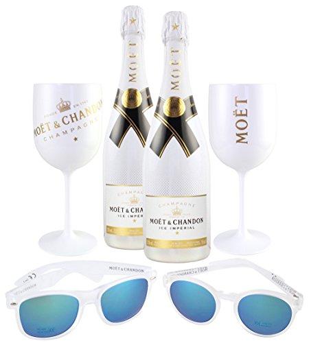 Moet & Chandon Ice Imperial Summer Day Party Set inkl. 2 Sonnenbrillen (1x Damen, 1x Herren), 2 Gläser, Champagner Flasche (2 x 0.75 l)