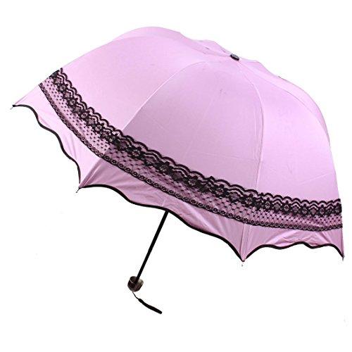 Lady Flouncing Dome Spitze-Akzent Sonne Regen Folding Umbrella-Rosa-Schwarz (Akzent Spitzen)
