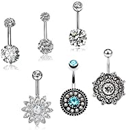 6pcs/set Piercing Jewelry Umbilical Ring Tassel Navel Nail Nightclub Exposed Navel Stainless Steel Belly butto