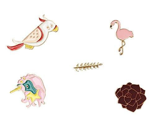 Brosche Anstecknadel Anstecker Pins Metall Brosche 5 Stück Set Feder Flamingo Rose Vogel