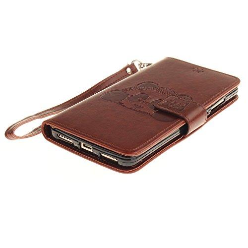 Leather Case Cover Custodia per Asus ZenFone 2 ZE551ML ,Ecoway Caso / copertura / telefono Panda goffratura Disegno retro della del modello PU con a Bookstyle tasche carte di credito funzione con inte marrone