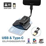 Rocketek USB Lesegeräte USB C DOD Militärische elektronische ID-Kartenleser und CAC Smart Card Reader Personalausweis OTG Chipkartenleser Kartenleser Kompatibel Windows7/8/10 MacBook Android-Handy