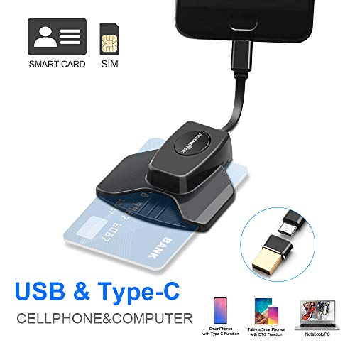 Rocketek USB Lesegeräte USB C DOD Militärische elektronische ID-Kartenleser und CAC Smart Card Reader Personalausweis OTG Chipkartenleser Kartenleser Kompatibel Windows7/8/10 MacBook Android-Handy (Cac Reader Mac)
