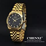 Die besten Golduhren - Chenxi goldene Mode Herrenuhr Edelstahl Quarz-Armbanduhr Bewertungen