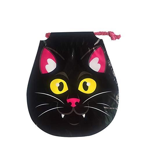 Halloween Tasche Kinder Schwarz Katze Muster Geschenkbeutel Süßigkeitstasche Kordelzug für Kostüm Party ()