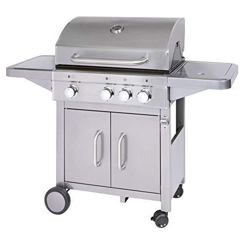 Profi Cook PC-GG 1180 Gasgrill inkl. Temperaturanzeige, Brenner + zusätzliche Kochstelle (3+1), 3 Heizzonen für indiv. Temperatursteuerung, großer Stauraum für 5 kg-Gasflaschen, Edelstahl