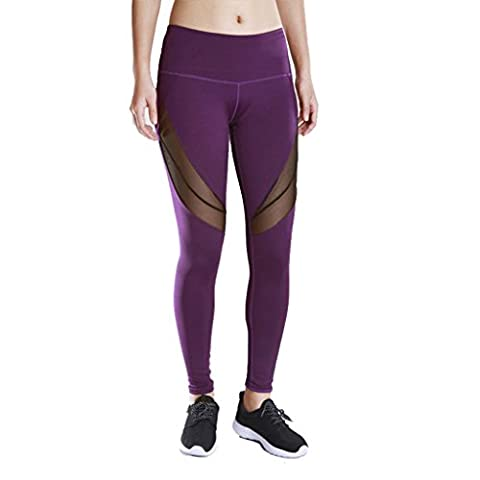 Byjia Pantalons De Yoga Sports Pour Femmes Fitness Loisirs Quick Dry Outdoor Run Elasticity High Waist Skinny Leggings Patchwork Mesh Stretchy Athletic Workout Gym Throw Purple M