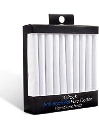 Puentes Denver Paquete de 10 Pañuelos Blancos de Hombres Antibacteriales 100% Algodón