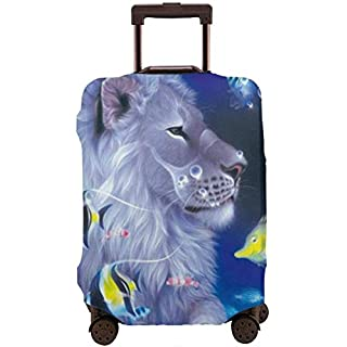 White Lion Travel Suitcase Cover Protector Luggage Protective Cover Washable Printed Zipper Baggage Suitcase Cover S