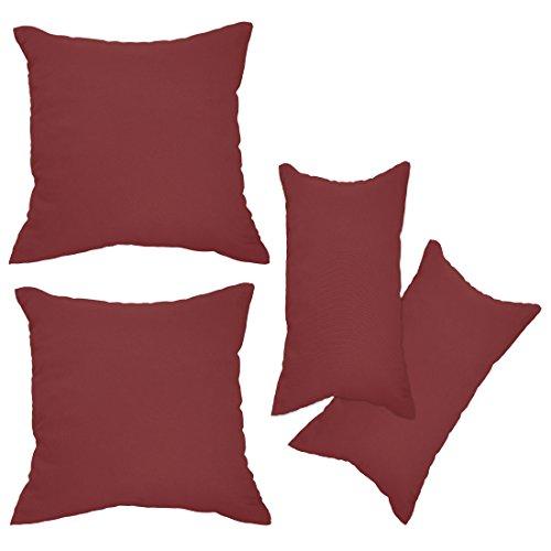 Nurtextil24 Kissenbezüge 2er Set Leinen-Optik 25 Farben und 20 Größen Blickdicht mit Reißverschluss Bordeaux 40 x 60 cm -