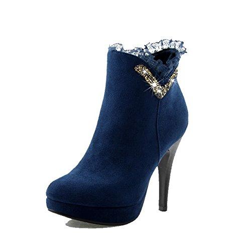 VogueZone009 Donna Tacco Alto Alla Caviglia Chiodato Cerniera Stivali Azzurro
