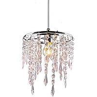 Sombra de luz de cristal, moderna lámpara de techo cromada con 2 niveles, cristal acrílico con gotas de efecto joya rosa, marco cromado y cuentas rosas, PS06PK