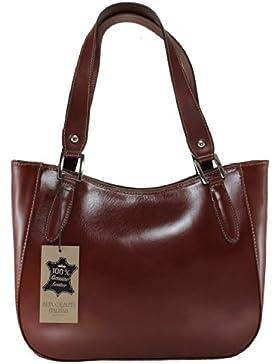CTM Damenhandtasche Stylish, 34x23x10cm, 100% echtes Leder Made in Italy