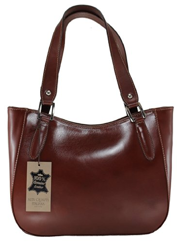 CTM Damenhandtasche Stylish, 34x23x10cm, 100% echtes Leder Made in Italy Braun