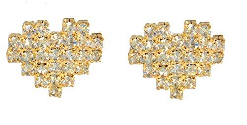 Gold ton Pixel Pixelated Herz 8-Bit-Design Ohrstecker mit Kristallen (in Organza Tasche) Quirky und niedliches Design