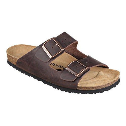 JOE N JOYCE Unisex London Leder Soft Fußbett Sandalen Darkbrown Größe 44 EU Normal (Joe Leder)
