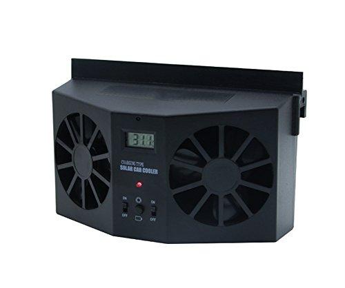Preisvergleich Produktbild Garyesh Tragbar Solar Dual Ventilator Kühler Lüfter Autofenster Luftentlüftungsventilator Mini-Klimaanlage Kühler Lüfter (Schwarz)