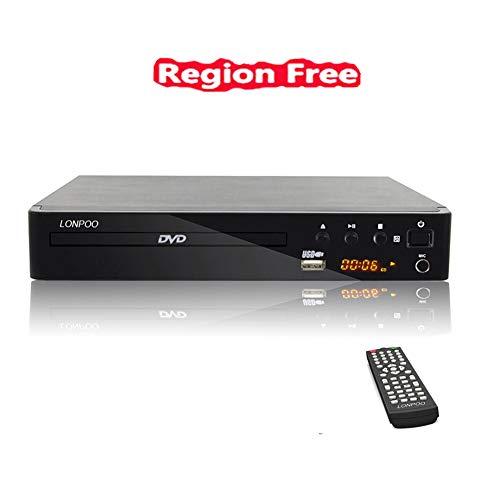 LONPOO Lecteur DVD Player Soutien Multi Zone Region Code Free, PAL/NTSC,2.0CH DVD CD Lecteurs ( avec MIC, HDMI, RCA, USB Port et Télécommande) Noir