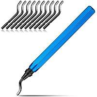 STARVAST Desbarbado Manual Juego de herramientas con mango aluminio + 10 piezas 360 ° Práctico acero de alta velocidad cuchillas de rotación de de corte para acero Plástico Aluminio Cobre