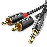 UGREEN Câble RCA Jack Audio Stéréo Nylon Tressé Cordon 3.5mm Mâle 2RCA Mâle pour Amplificateur Chaîne HiFi Barre de Son Home Cinéma TV Autoradio Smartphone (2M)