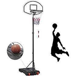 Yaheetech Panier de Basket-Ball sur Pied Hauteur Réglable 159-214 cm 5 Niveaux avec Support et roulettes Noir