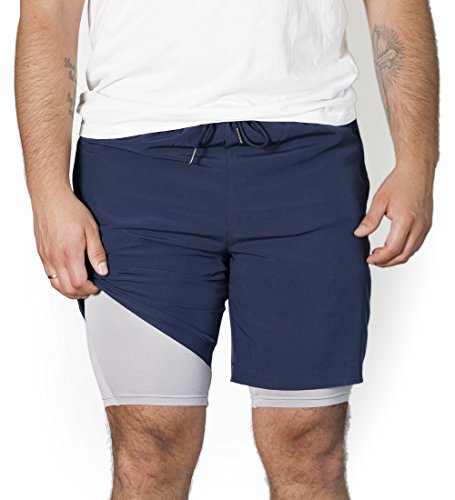 Rr sports - pantaloncini 2 in 1 da uomo, con due tasche per fitness, palestra, corsa e tempo libero, blu/grigio, s