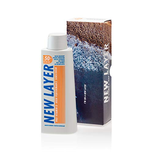 NEW LAYER Sonnencreme | LSF 50+ | Pro Vitamin D | Frei von Mikroplastik | Reef-friendly | Frei von Octocrylenen | Wasserfest (200ml)