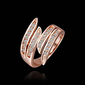 MAKINO 18K Rose Glod Plated AAA Cubic Zirconia Ring For Lady Party Birthday Gift Present Valentine's Day -Color:Rose Gold -Size:?Q