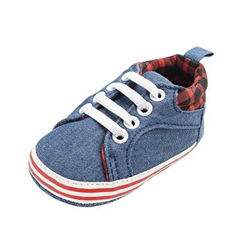 Deloito Krabbelschuhe Mode Babyschuhe Unisex Kinder Lässige Plaid Sneaker Denim-Leinwand Lauflernschuhe Kleinkind Weicher Boden Schnüren Schuhe (Blau,19 EU) -