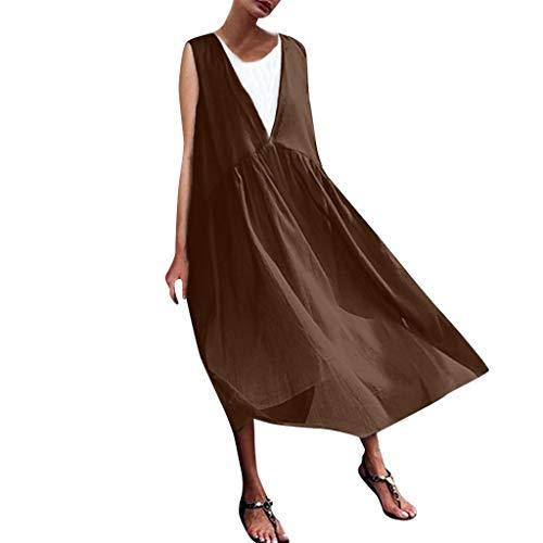 Floweworld Damen Sommer ärmellose Kleider beiläufige lose oansatz Lange Kleider Farbe spleißen Strand Maxi Kleider - Farbe Baumwolle Kleid Socken