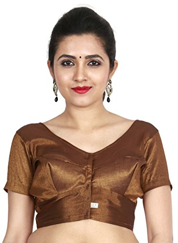 JISB Stitched Readymade Tissue blouse, color Brown (XXXL-42)