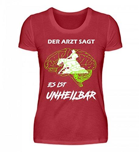 Shirtee Hochwertiges Damen Organic Shirt - Reining! Dunkelrot