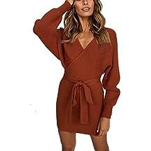 03abdf21df39 MYSHOW Donna Abito con Scollo a V a Costine Scollo Vestito Lavorato a  Maglia Vestidos Sexy