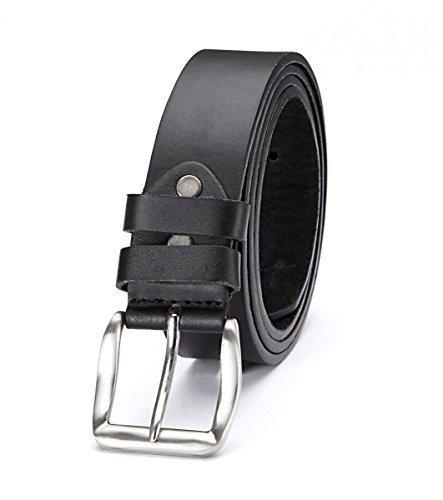 Herren Gürtel Männergürtel Gürtelschnalle Jeansgürtel Belt Gurt Riemen New G81, Größe:115cm;Farbe:Schwarz