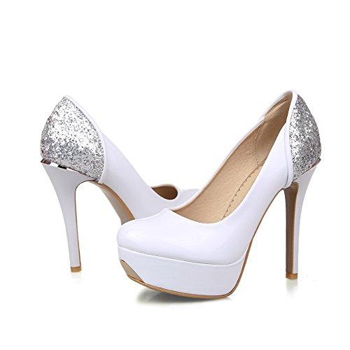 AllhqFashion Femme Mosaïque Verni à Talon Haut Tire Rond Chaussures Légeres Blanc
