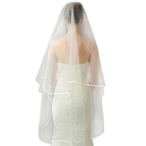Schleier Tier-soft-tüll Hochzeit Eine (DreamyDesign Schleier Damen Einfach und Elegant Tüll Satinkante (Ivory))