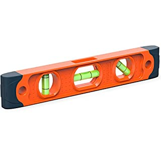Presch Spirit Level Magnetic 230mm - Small, Unbreakable and Magnetic Torpedo Level with 3 Level Bubbles - Boat Level - Scaffold Level for Builders