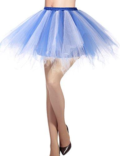 (Dresstells Damen Tüllrock 50er Rockabilly Petticoat Tutu Unterrock Kurz Ballett Tanzkleid Ballkleid Abendkleid Gelegenheit Zubehör Royal White M)