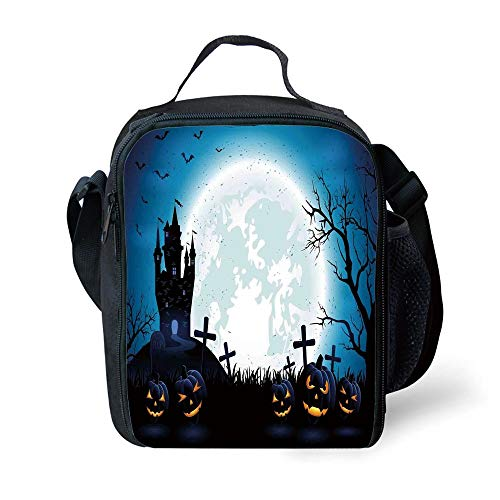 MLNHY School Supplies Halloween Decorations,Spooky Concept with Scary Icons Old Celtic Harvest Figures in Dark Image,Blue for Girls or Boys Washable (Scary School Girl Halloween)