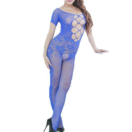 Liu Sensen Unterwäsche Für Frauen Sexy Mode Mesh-Kleidung Leggings Oberschenkel Hohe Strümpfe Kostüme Unterwäsche Set Blau Fischnetz Body - Fischnetz Strumpf Kostüm